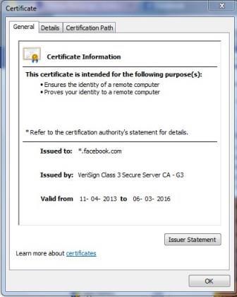 Facebook Certificate info