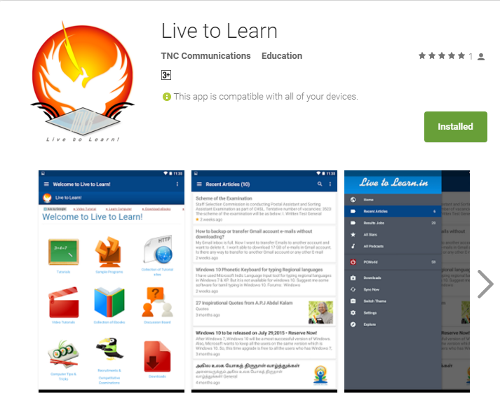 Live to Learn - Android App