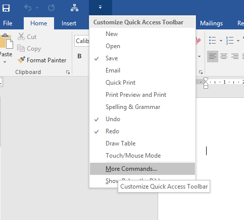 MS Word - Customize Quick Access Bar